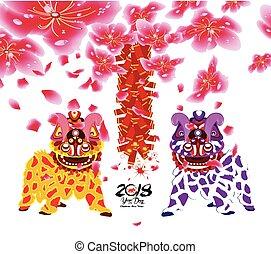 cinese, ballo, fiore, petardo, leone, anno, nuovo
