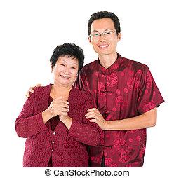 cinese, benedizione, famiglia asiatica