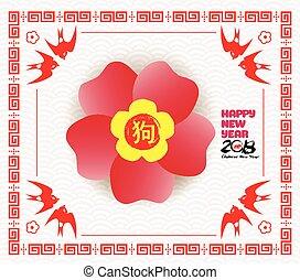cinese, blossom., cane, 2018, anno, nuovo, scheda
