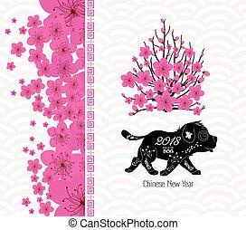 cinese, blossom., cane, 2018, anno, nuovo