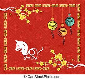 cinese, cane, fondo, anno, 2018., nuovo