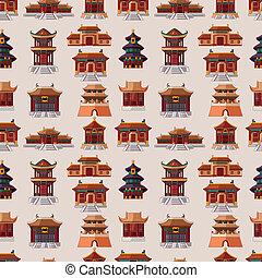 cinese, casa, seamless, modello, cartone animato