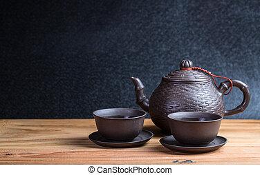 cinese, colazione, teiera