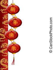 cinese, colonna, drago, lanterne, anno, nuovo, rosso