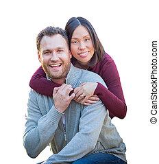 cinese, coppia, isolato, fondo., corsa, mescolato, caucasian bianco
