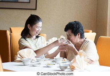cinese, detenere, pasto, famiglia, asiatico