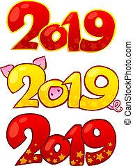 cinese, elements., 2019, disegno, anno, nuovo, 2019., felice