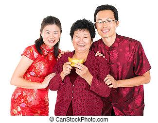 cinese, famiglia asiatica, augurio