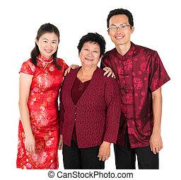 cinese, famiglia asiatica, felice