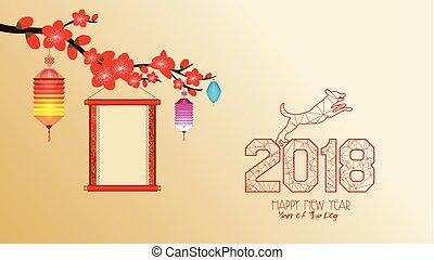 cinese, fiore, cane, 2018, anno, nuovo, wallpapers.