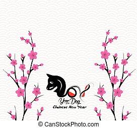 cinese, fiore, cane, anno, 2018., nuovo