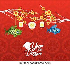 cinese, fiore, cane, fondo., 2018, anno, nuovo