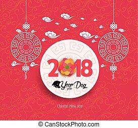 cinese, fiore, cane, fondo., orientale, 2018, anno, nuovo