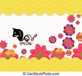 cinese, fiore, modello, cane, fondo., 2018, anno, nuovo