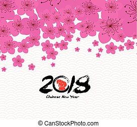 cinese, fiore, prugna, -, cane, fondo., 2018, anno, nuovo