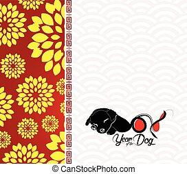 cinese, fiore, prugna, cane, fondo, anno, 2018., nuovo