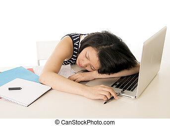 cinese, lei, studente, laptop, giovane, addormentato, asiatico, carino