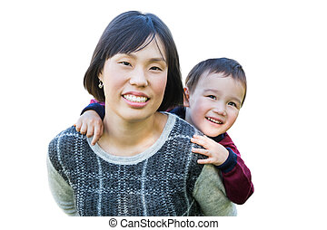 cinese, madre, e, corsa mescolata, bambino, isolato, su, uno, bianco, fondo.