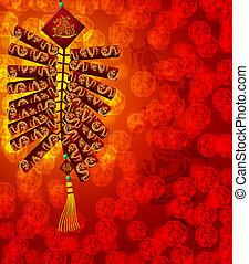 cinese, mortaretti, drago, fondo, anno, nuovo, sfocato