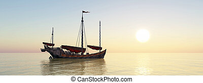 cinese, nave rifiuto, a, ancorare