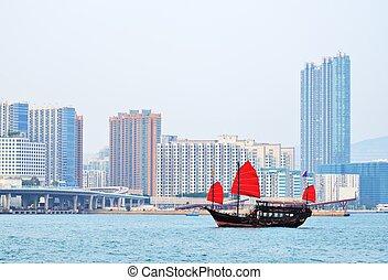 cinese, nave rifiuto, in, porto victoria