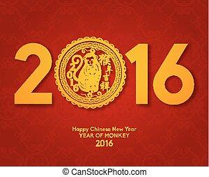 cinese, orientale, anno, nuovo, 2016, felice