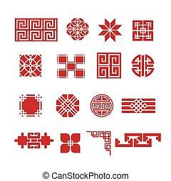 cinese, ornamento, icona, set