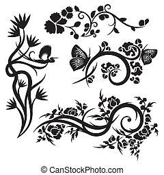 cinese, ornamento, serie