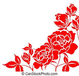 cinese, paper-cut, di, peonia, fiore