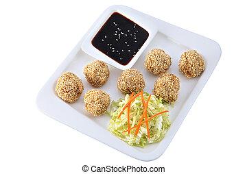 cinese, piatti, pollo, palle, con, semi di sesamo, isolato, su, whi