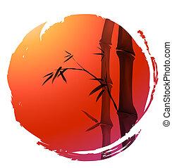cinese, pittura, di, bambù