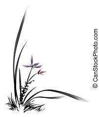 cinese, pittura, di, fiore