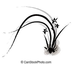 cinese, pittura, di, orchidea