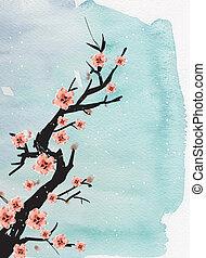 cinese, pittura, di, prugna