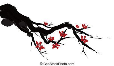 cinese, pittura, di, prugna, fiore