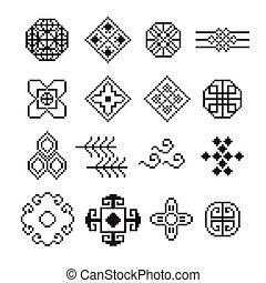 cinese, pixel, ornamento, vettore, set
