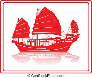 cinese, rifiuto, boat.
