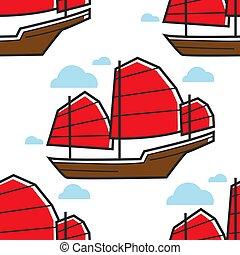 cinese, seamless, modello, barca vela, o, nave rifiuto,...