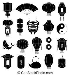 cinese, simboli, silhouettes., asiatico, lanterne carta, maschera, di, drago, fish, tradizionale, porcellana, festivo, nero, vettore, illustrazioni