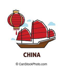 cinese, simboli, viaggiare, a, porcellana, lanterna, e, nave...