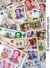 cinese, soldi, banconote, -