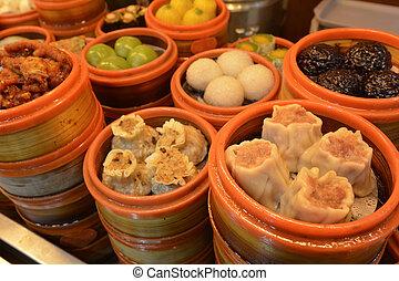 cinese, somma fioca, gnocchi, cibo, in, sciangai, porcellana