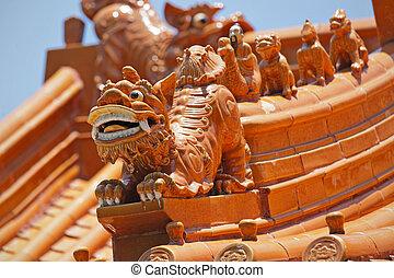 cinese, tempio, tetto