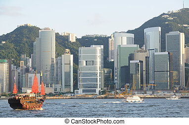 cinese, veliero, in, hong kong, victoria, habour