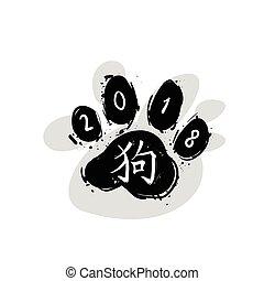 cinese, zampa, simbolo, isolato, cane, piede, nero, 2018, fondo, anno, stampa, nuovo, bianco, calligrafia