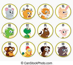 cinese, zodiaco, animali