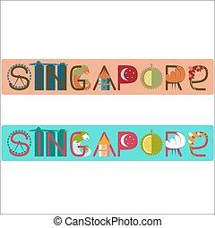 cingapura, ilustração, título