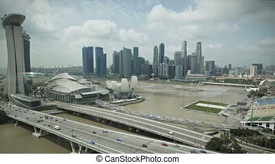 cingapura, marina, baía, vista aérea