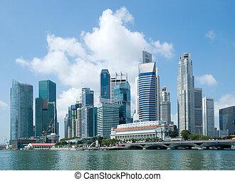 cingapura, skyline, distrito financeiro