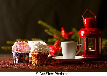 Cinnamon and chocolate muffins. Christmas homemade cakes
